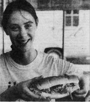 Linda Konitzer of Green Bay holds a Zeppelin's sub sandwich in a 1983 photograph published in the Green Bay Press-Gazette.