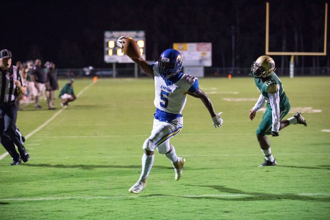 Senior running back-wide receiver Reggie Rodgers (5) and the Eastside Eagles are ranked seventh in Class AAAA in this week's S.C. Prep Media Football Poll.