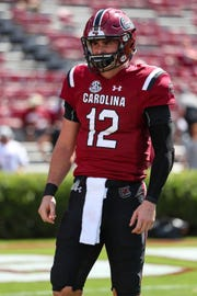 South Carolina quarterback Michael Scarnecchia threw three touchdown passes against Missouri in his first career start with the Gamecocks.