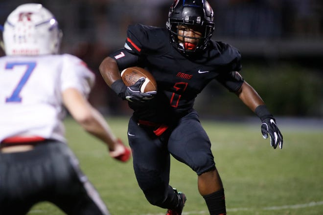 Senior running back Collin Whitfield (1) and the Hillcrest Rams will play on the road against Boiling Springs Friday in a Region 2-AAAAA game.