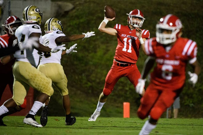 Greenville quarterback Davis Beville (11) plans to sign with the University of Pittsburgh in December and enroll at the school in January.