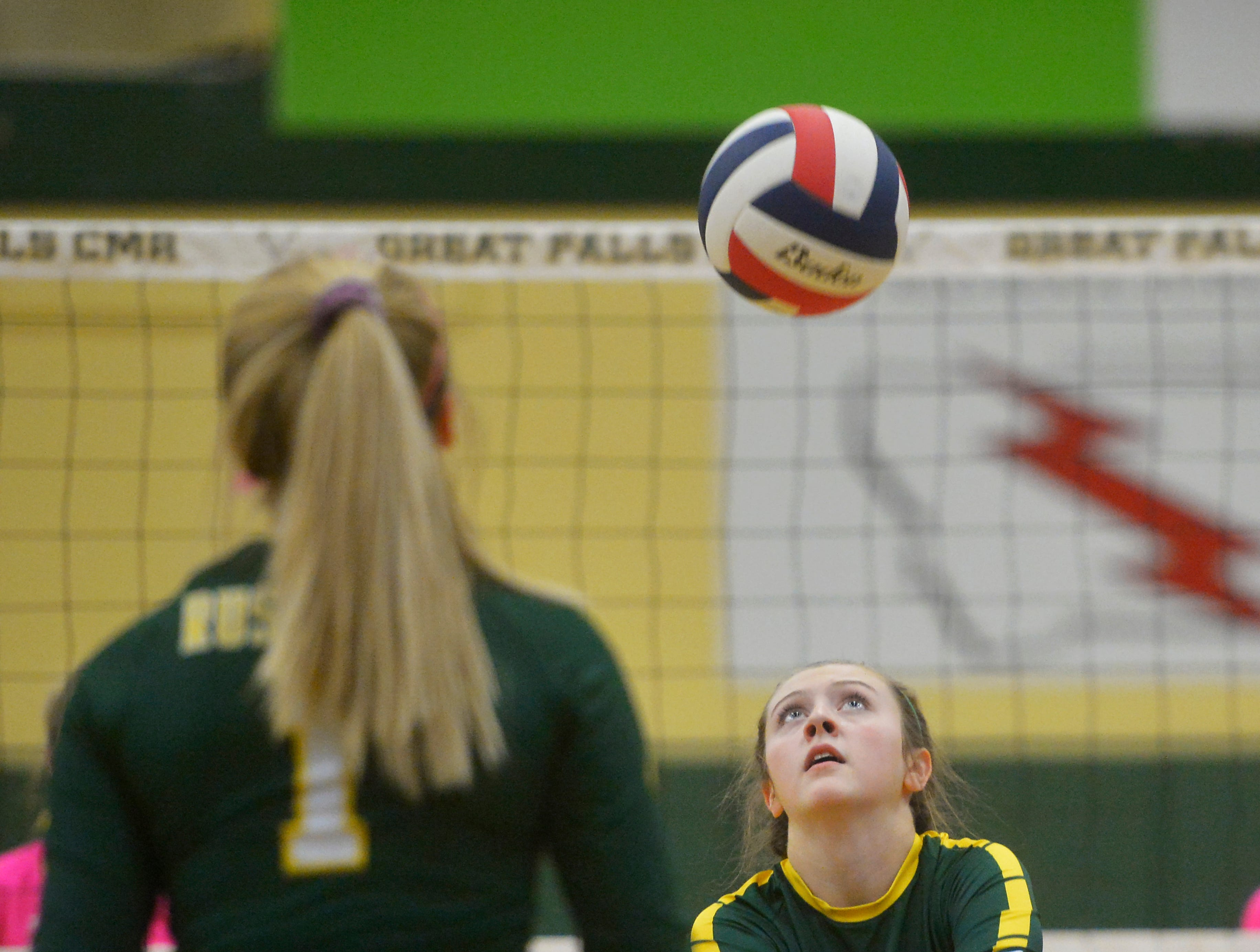 CMR's Tennisen Hiller makes a pass during the crosstown volleyball match in the CMR Fieldhouse, Tuesday.