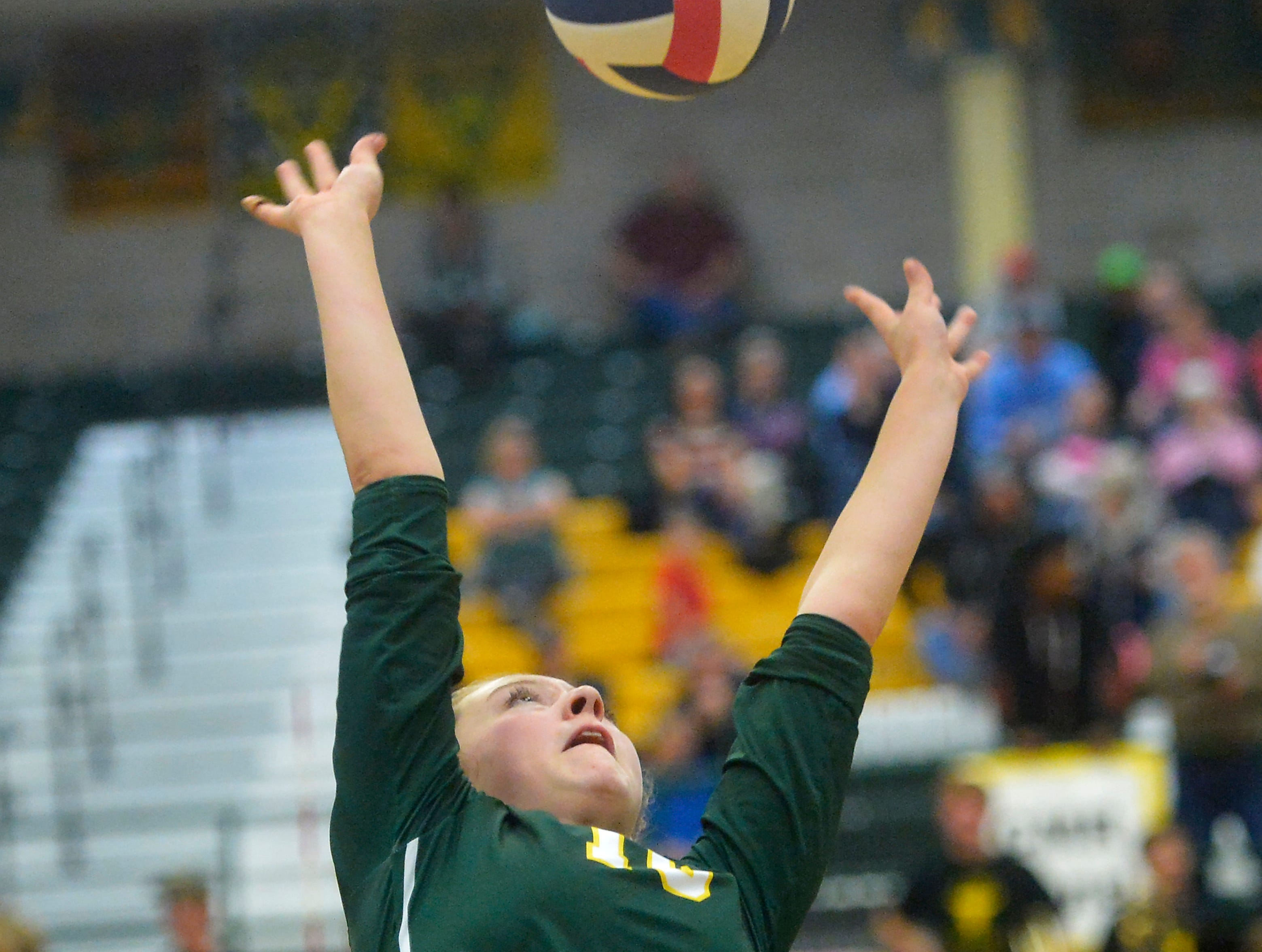 CMR's Tennisen Hiller during the crosstown volleyball match in the CMR Fieldhouse, Tuesday.