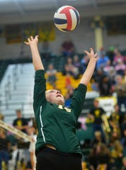 CMR's Tennisen Hiller during the crosstown volleyball match last season. The Rustlers defeated Havre in three sets Tuesday.