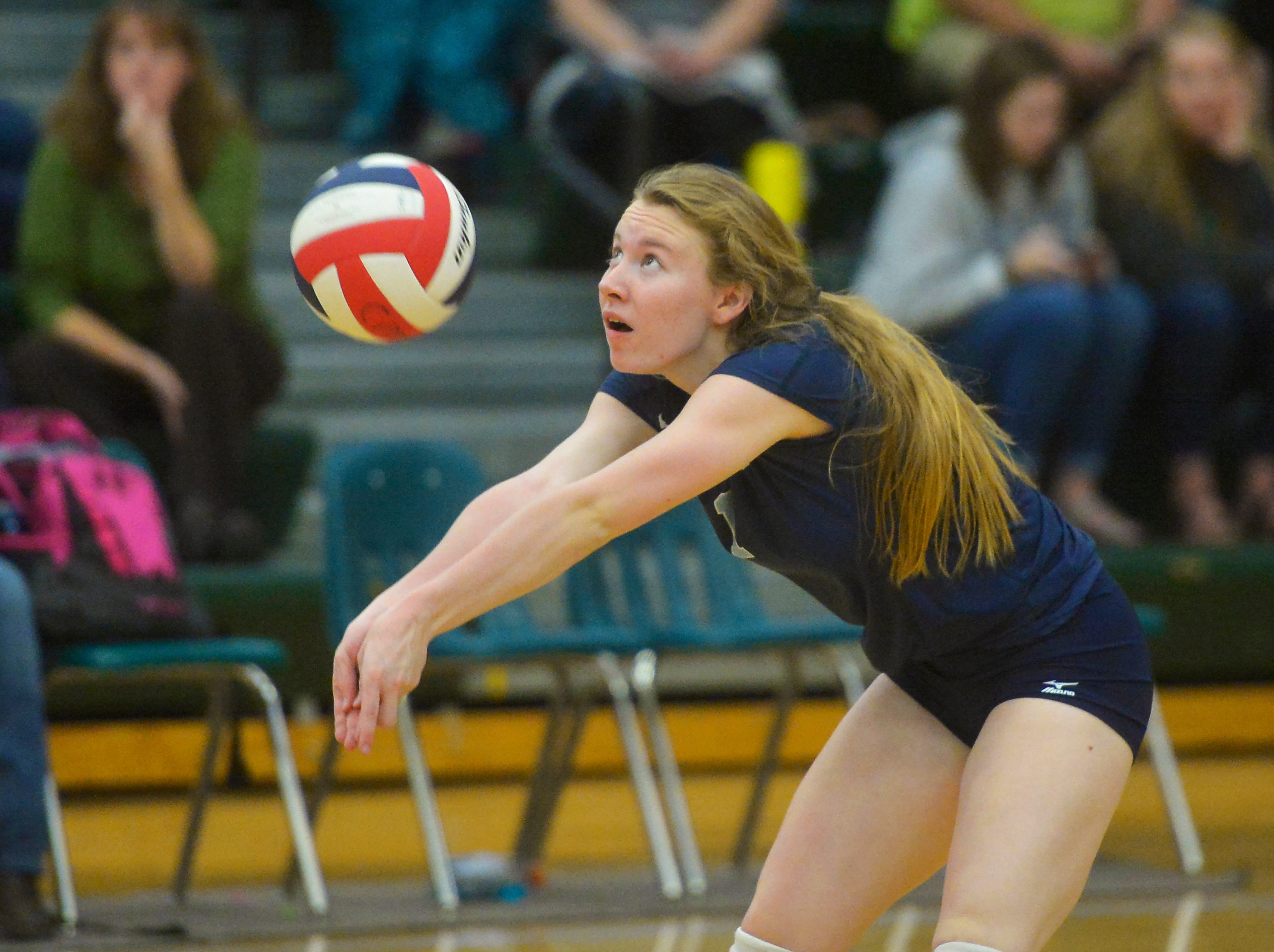 Great Falls High's #1 makes a pass during the crosstown volleyball match in the CMR Fieldhouse, Tuesday.