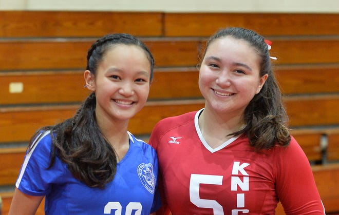 First cousins Minami Rabago, left and Tylee Shepherd are starting sophomore outside hitters for the Notre Dame Royals and St. John's Knights, respectively. They will face each other for the second straight championship game Oct. 11 at the UOG Calvo Fieldhouse. The Royals are the defending champion of the IIAAG High School Girls Volleyball league.