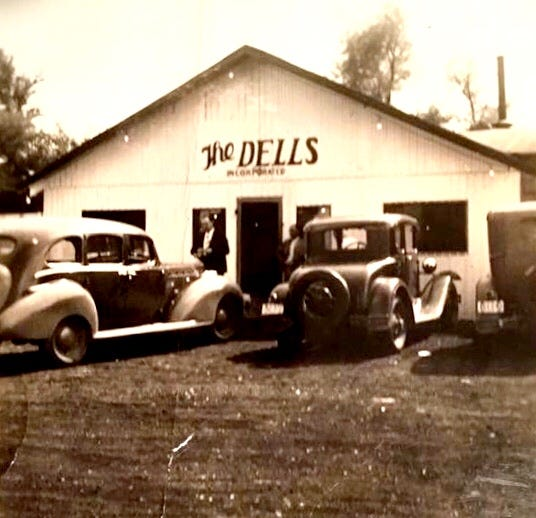 The Dells nightclub on Waterworks Road was owned by Clarence Wood, Henderson County's gambling kingpin, and was the scene of his killing one of his bartenders in 1942. That death set off a chain of events that led to the downfall of wide-open gambling here.