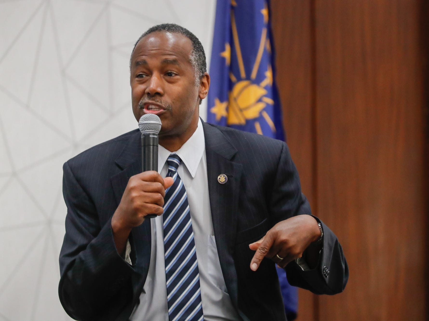 HUD Secretary Ben Carson takes submitted questions after his Keynote speech during the Indiana Civil Rights Commission's Fair Housing Law and Policy Conference, held at the     Sheraton Indianapolis City Centre Hotel on Wednesday, Oct. 10, 2018.