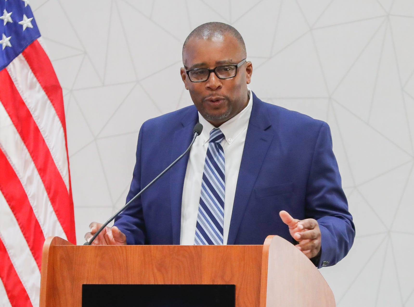 Executive Director of the Indiana Civil Rights Commission, Gregory L. Wilson, speaks  during the Indiana Civil Rights Commission's Fair Housing Law and Policy Conference, held at the Sheraton Indianapolis City Centre Hotel on Wednesday, Oct. 10, 2018.