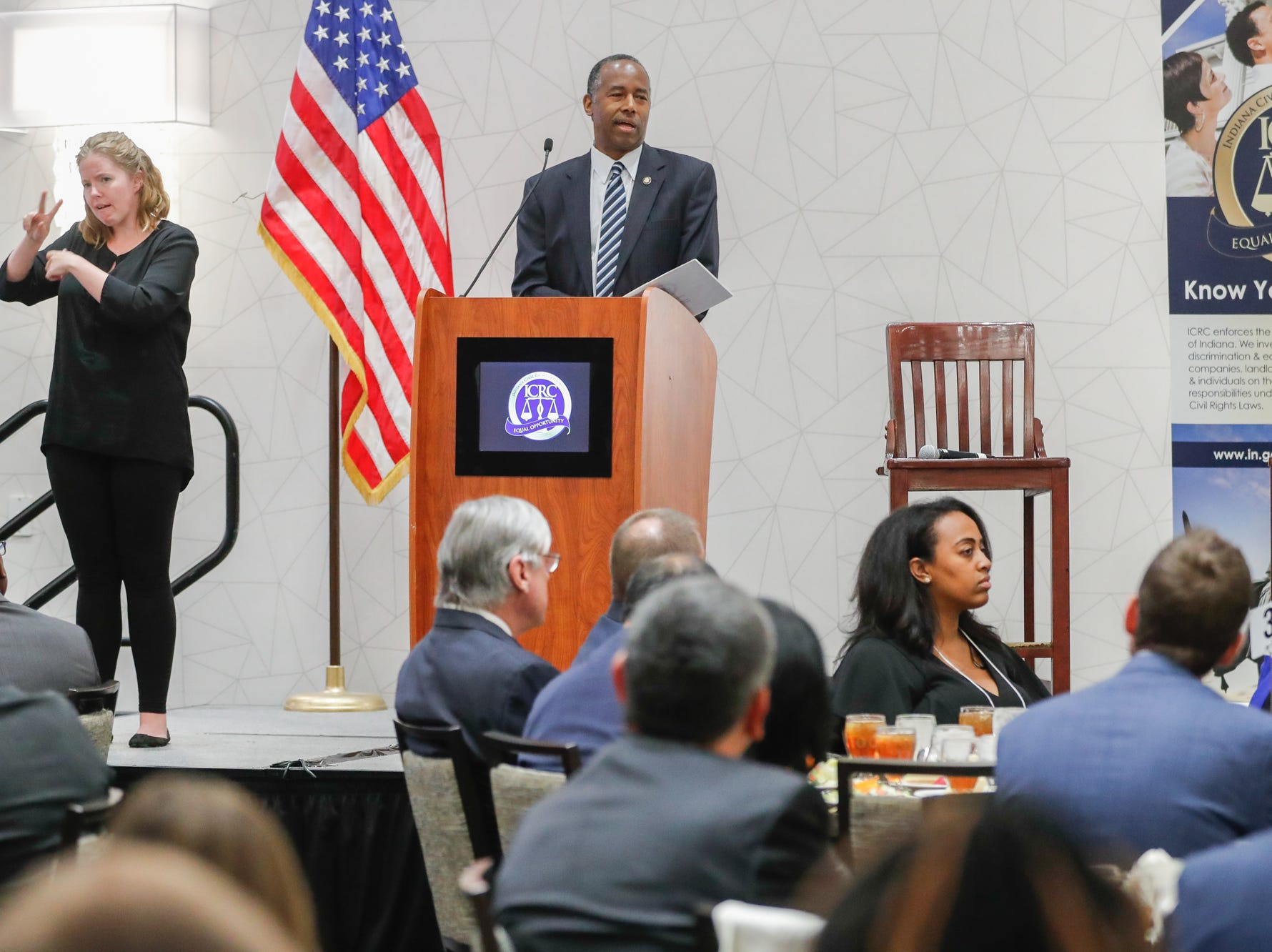 HUD Secretary Ben Carson gives the Keynote speech during the Indiana Civil Rights Commission's Fair Housing Law and Policy Conference, held at the     Sheraton Indianapolis City Centre Hotel on Wednesday, Oct. 10, 2018.