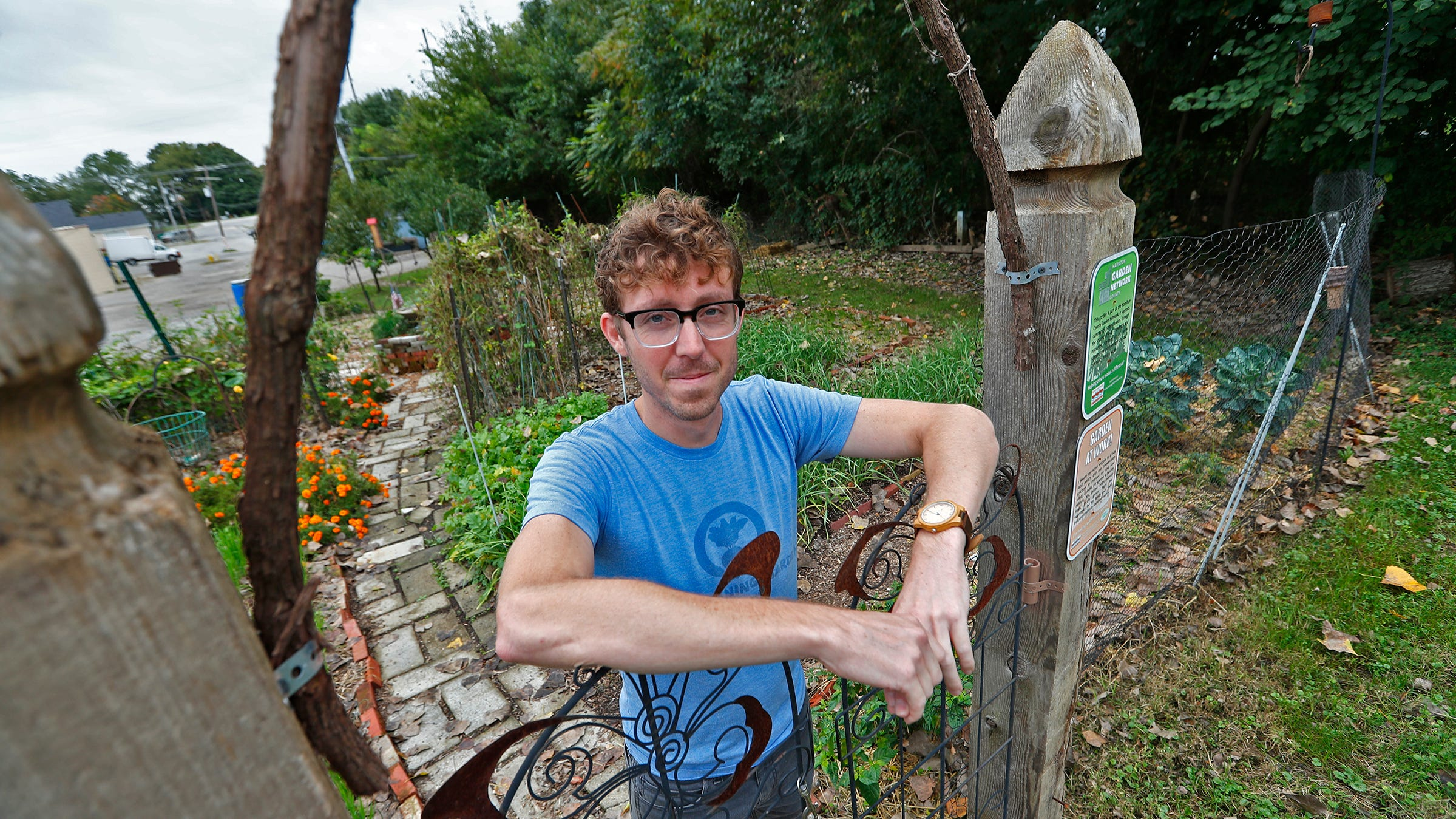 Andrew Fritz stands in the Gleaning Garden in Carmel, Wednesday, Oct. 10, 2018.  The community garden, started in 2012, is just south of the Union Brewing Co., along the Monon Trail.  The garden aims to bring community together but also provides food for a local food pantry.  It also looks at the community's ecology, working to improve soil health, and animal and insect habitat.  Fritz says the future of the garden is unknown as the tract of land is up for sale.