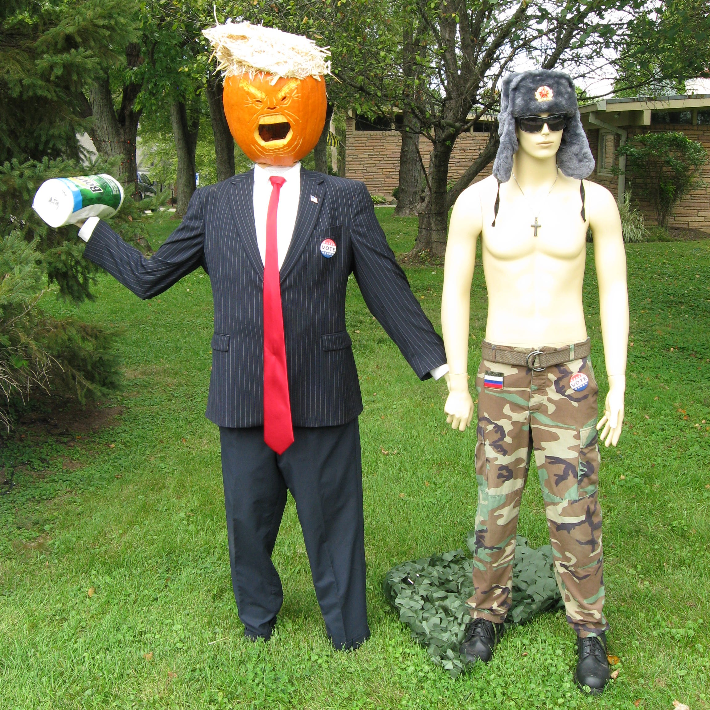 Carmel Trump pumpkin returns with shirtless Putin, Space Force Pence and caged pumpkins