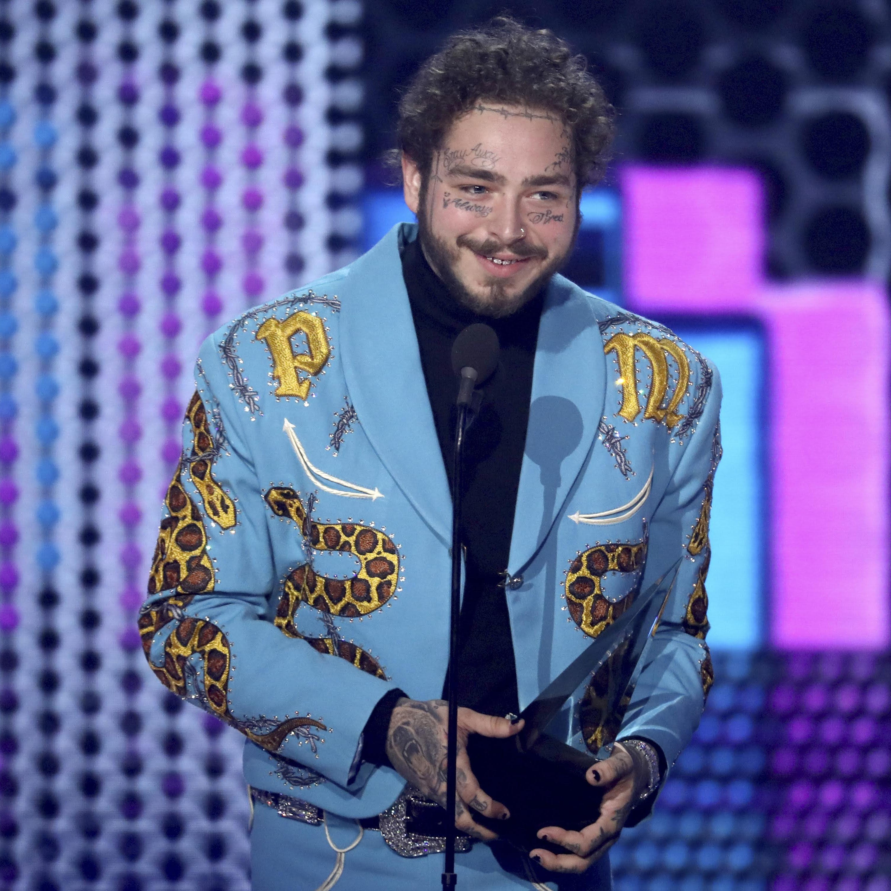 Post Malone hired Indianapolis tailor Jerry Lee Atwood to make flashy awards-show suit