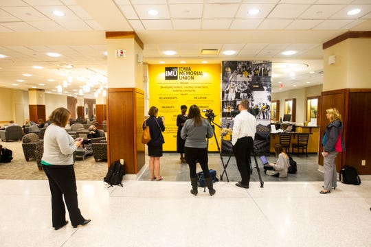 Melissa Shivers, the University of Iowa Vice President for Student Life, speaks to members of the media on Wednesday, Oct. 10, 2018, at the Iowa Memorial Union, in Iowa City.
