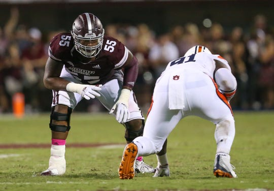 Mississippi State's Greg Eiland (55). Mississippi State and Auburn played in an SEC college football game on Saturday, October 6, 2018, in Starkville. Photo by Keith Warren/Madatory Photo Credit