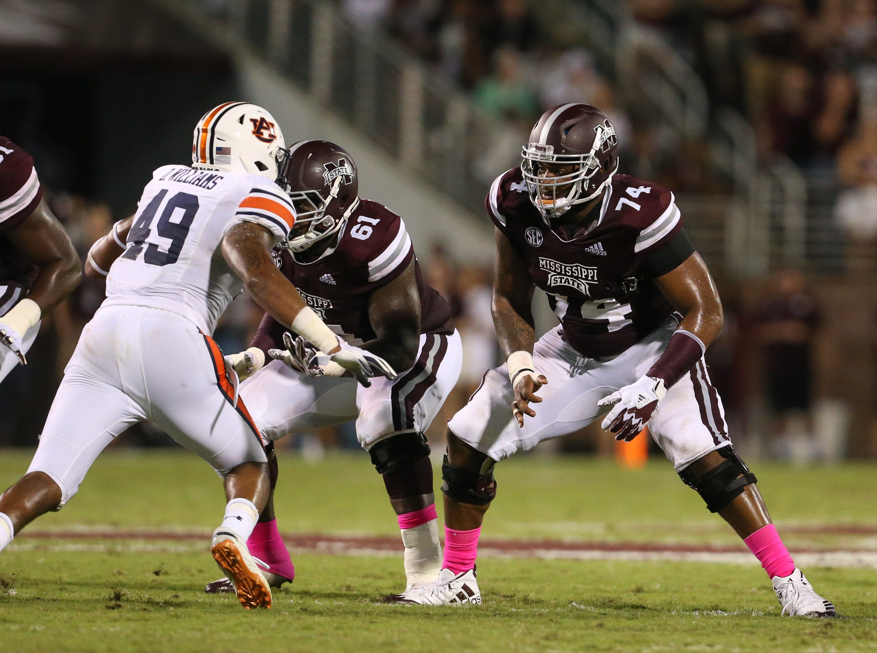 Mississippi State's Elgton Jenkins (74). Mississippi State and Auburn played in an SEC college football game on Saturday, October 6, 2018, in Starkville. Photo by Keith Warren/Madatory Photo Credit