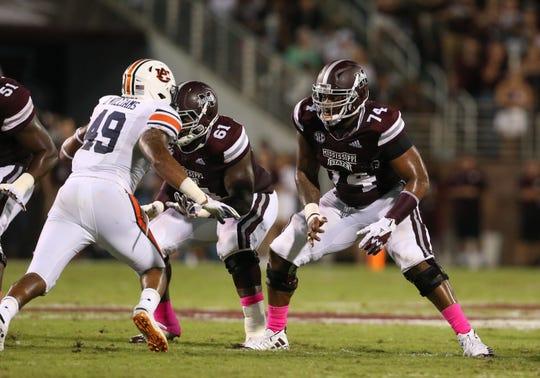 Mississippi State's Elgton Jenkins (74) and the rest of the Bulldogs' offensive line rebounded in a big way against Auburn. They didn't allow one sack and paved the way for a huge night running the ball. Photo by Keith Warren/Madatory Photo Credit