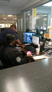 Front desk officers and dispatchers watch the camera feed from Jackson Police Department's street cameras consistently. JPD brings in retired officers to provide additional eyes on the screen during times of high crime concentration.