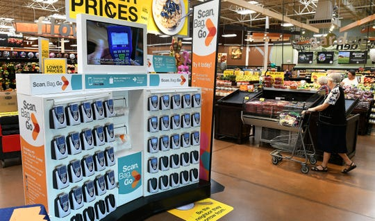 Kroger in Fountain City on North Broadway has added hand-scanners so shoppers can carry them around the store to shop Wednesday, Oct. 10, 2018.