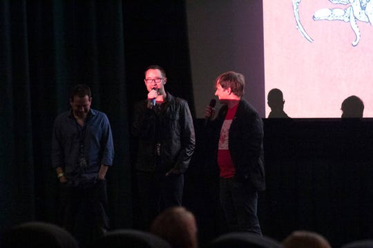 Knoxville Horror Film Fest Director William Mahaffey (right) speaks with director Matt Mercer (center) and producer Kevin Sluder during the 2017 festival at Regal Downtown West Cinema. (Submitted by William Mahaffey)