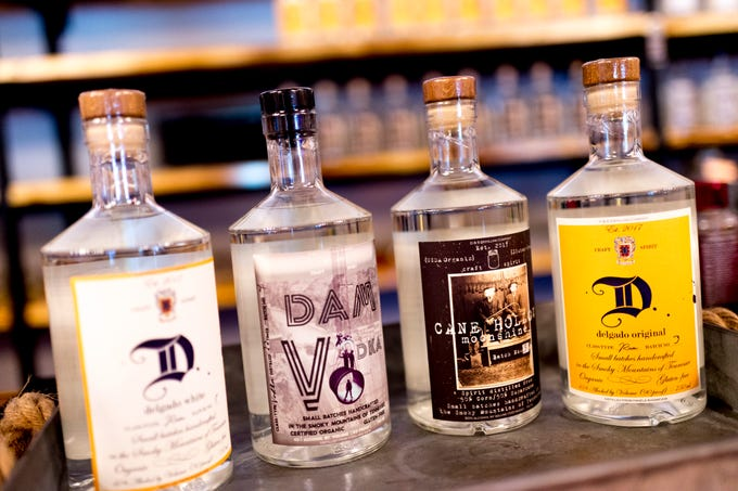 A selection of the vodka, rum and moonshine products made at D&S Distilling on 1610 Jenkins Rd. in Sevierville, Tennessee on Tuesday, October 9, 2018. D&S Distilling is TennesseeÕs first completely organic and gluten-free distillery.