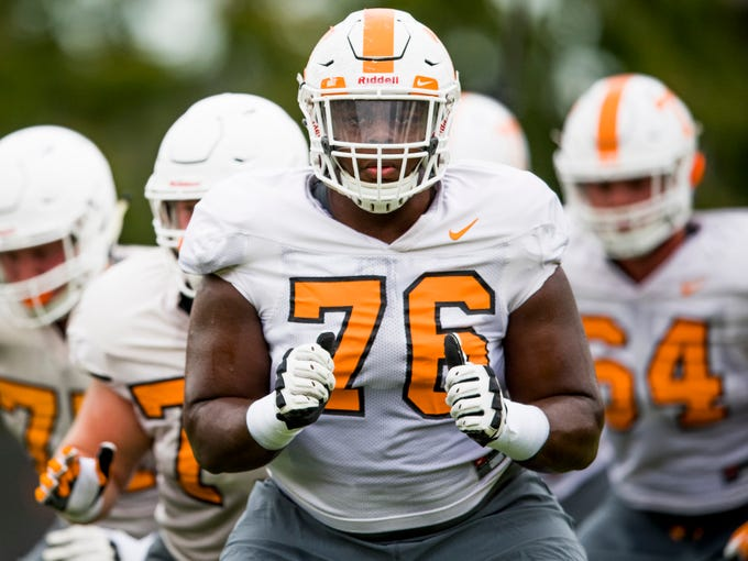 Tennessee offensive lineman Chance Hall (76) during Tennessee football's afternoon practice on Wednesday, October 10, 2018.