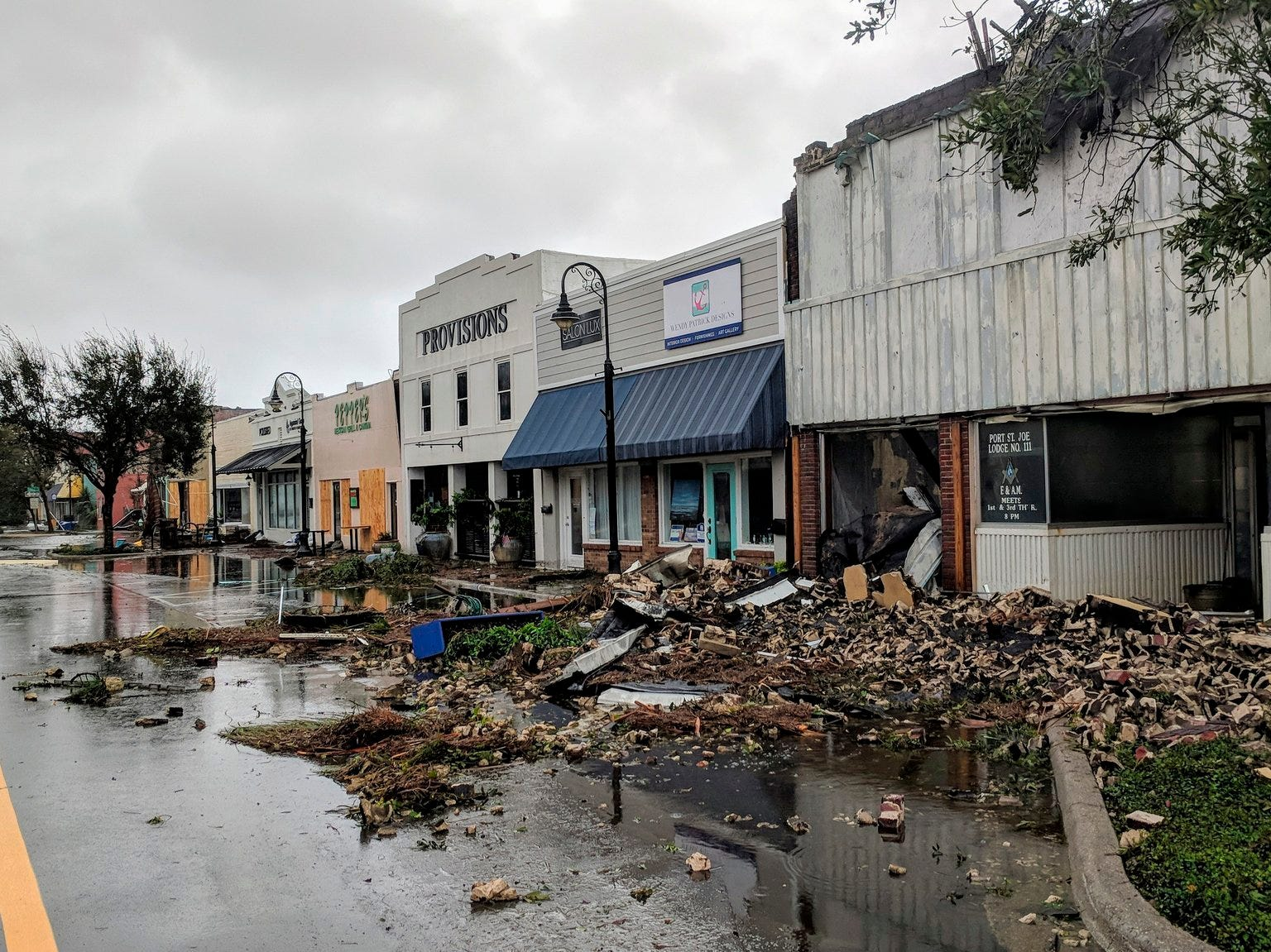 Hurricane Michael formed off the coast of Cuba carrying major Category 4 landfall in the Florida Panhandle. Surge in the Big Bend area, along with catastrophic winds at 155mph. Port St. Joe Lodge number 111, at right, lay in ruins on Reid Avenue on Wednesday, Oct. 10, 2018, in Port St. Joe, Fla., after Hurricane Michael made landfall in the Florida Panhandle.