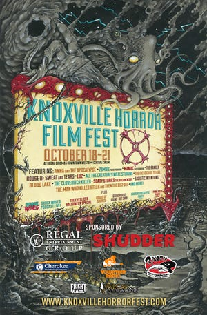 Poster for the 10th annual Knoxville Horror Film Fest happening October 18-21 at Regal Downtown West Cinema and Central Cinema.