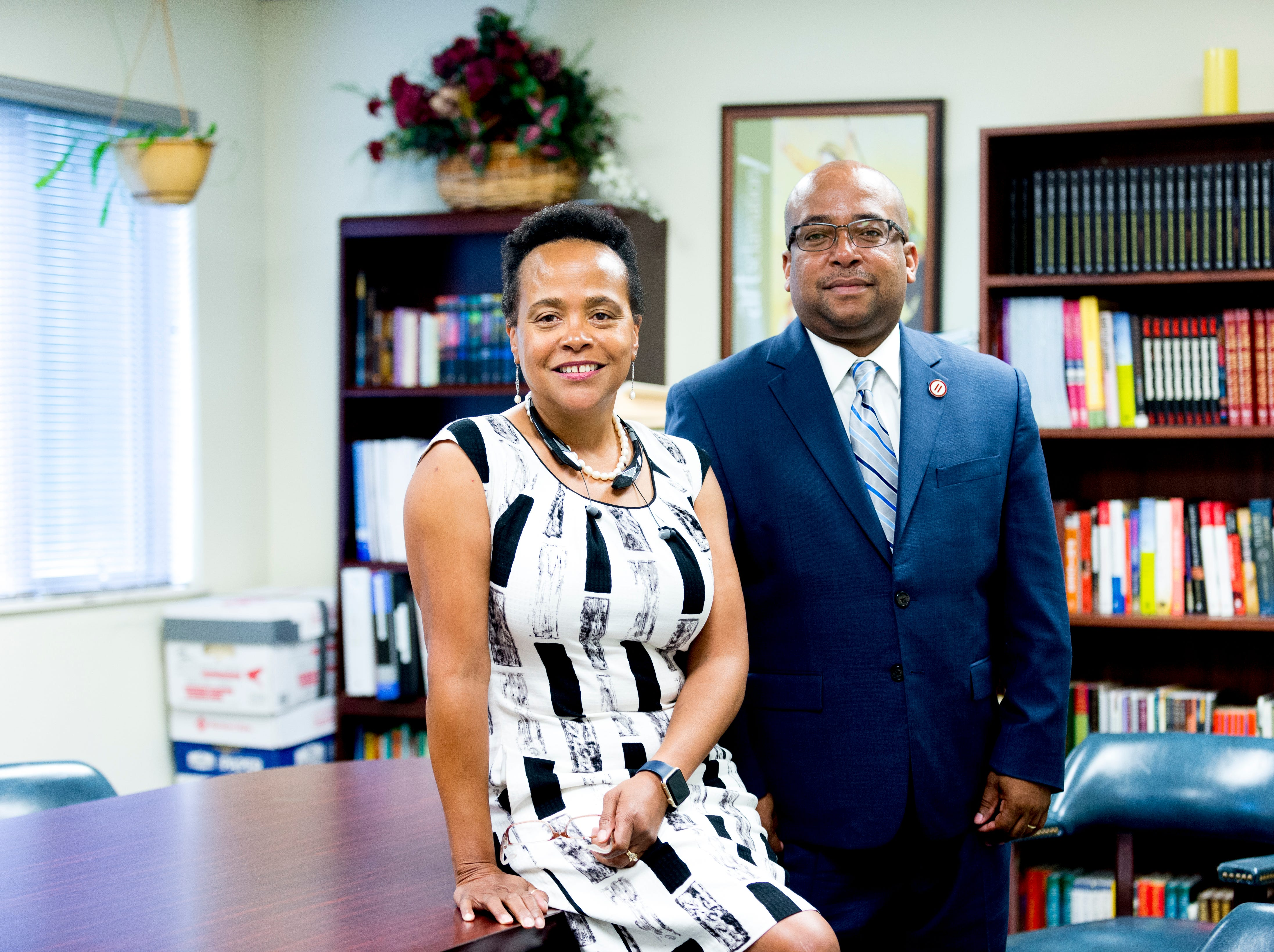 Donna Mitchell and Felix Harris pose for a photo at Covenant Couseling; 640 North Building, in Knoxville, Tennessee on Wednesday, September 19, 2018.