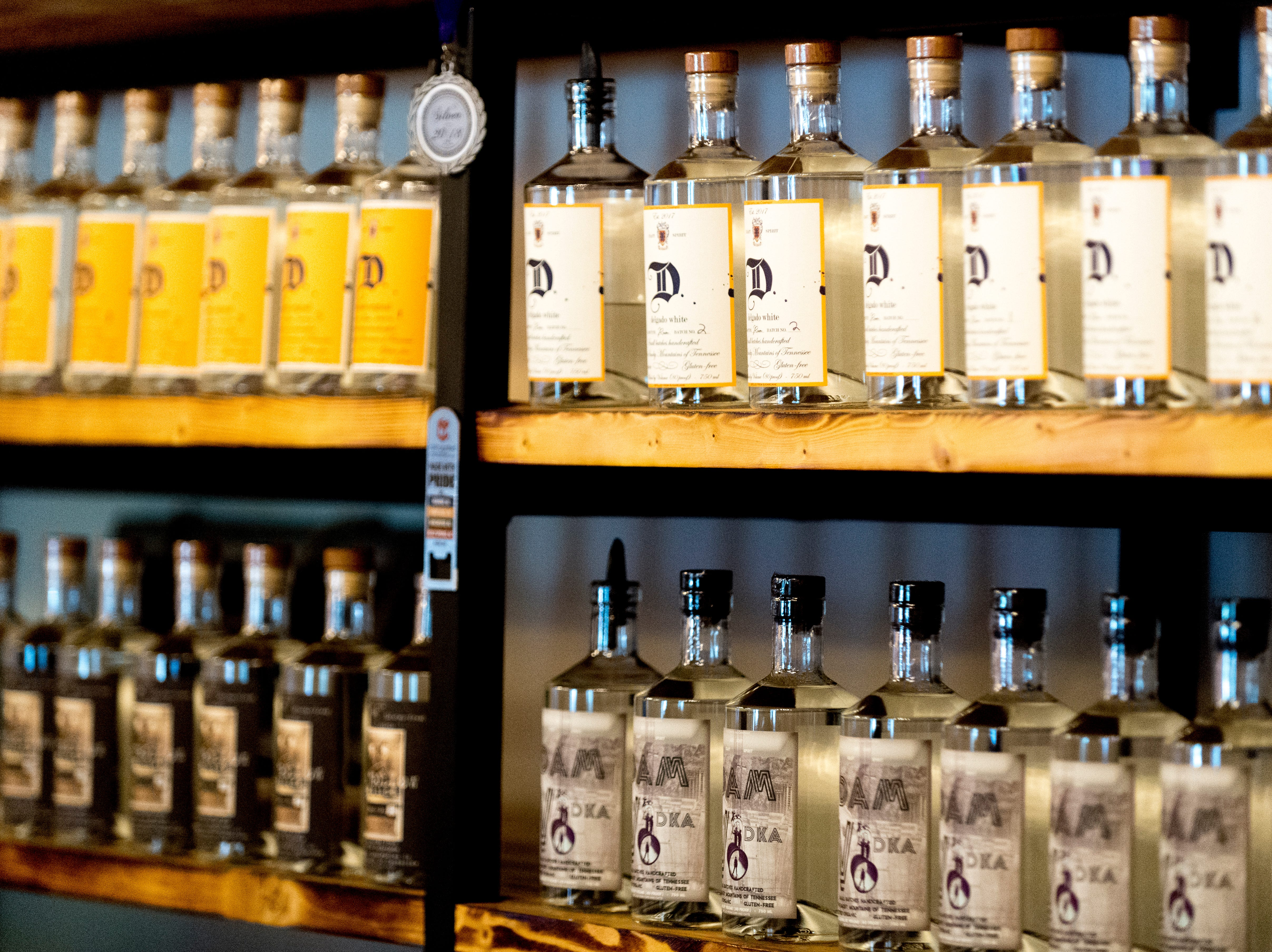 Bottles of vodka, moonshine and rums at the bar inside D&S Distilling on 1610 Jenkins Rd. in Sevierville, Tennessee on Tuesday, October 9, 2018. D&S Distilling is TennesseeÕs first completely organic and gluten-free distillery.