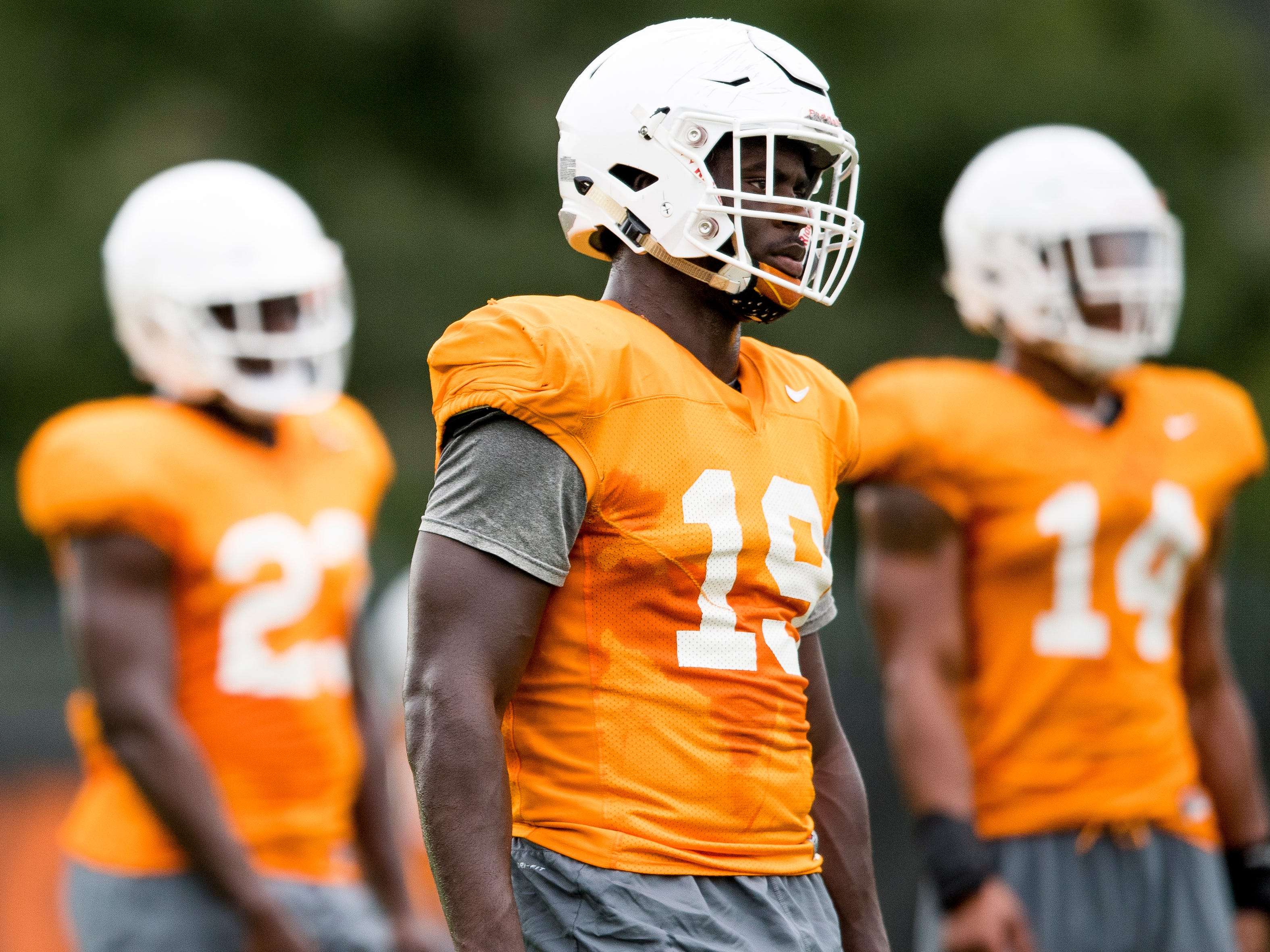 Tennessee linebacker Darrell Taylor (19) during Tennessee football's afternoon practice on Wednesday, October 10, 2018.