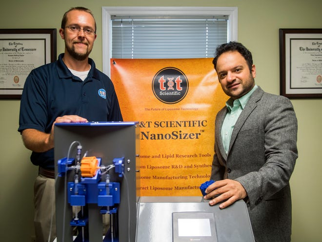 T&T Scientific co-founders Graham Taylor, left, and Nima Tamaddoni, right, at their office on Wednesday, October 10, 2018.