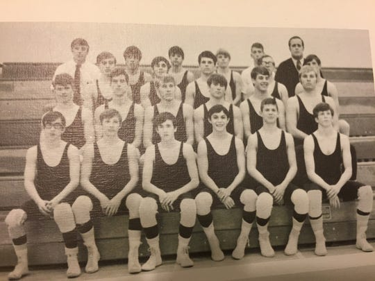Canyon del Oro High School 1971 varsity wrestling team, Jack McElroy, Jim Kier lower left.