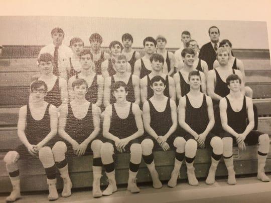 Canyon del Oro High School 1971 varsity wrestling team, Jack McElroy, Jim Kier lower left.