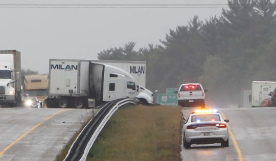 No one was injured in this accident in the left lanes of the northbound I-65. The semi jackknifed into the guard rail about 10:45 a.m. Wednesday.