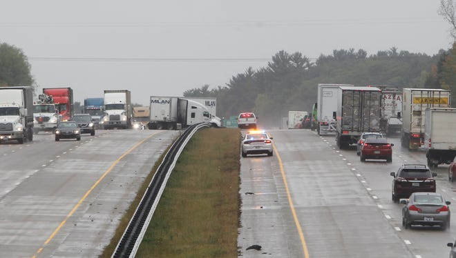 A northbound semi jackknifed about 10:45 a.m. Wednesday on Interstate 65, about two miles north of the Indiana 26 exit.