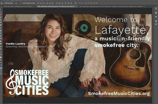 Singer-songwriter Yvette Landry is shown in an ad promoting Lafayette as a smoke-free, music city.