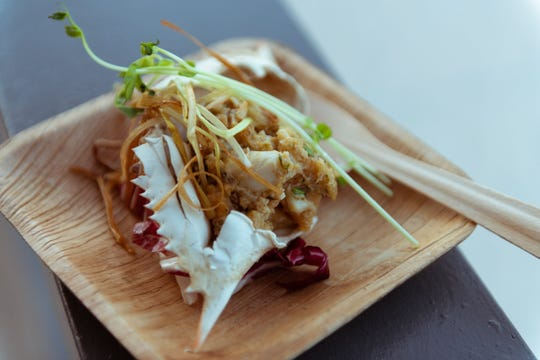 This stuffed blue crab with brown butter sabayon, charred radicchio and fried leeks made by Jeffrey Hansell of Oxlot 9 in Covington was served during the Louisiana X Nashville media preview event at The Bridge Building in Nashville, Tennessee on Oct. 8, 2018.