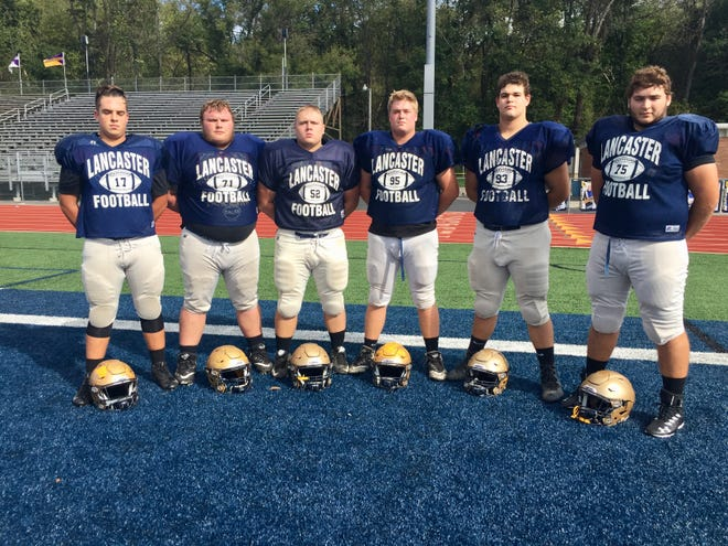 Lancaster's offensive line play has played a huge part in the Golden Gales' recent success during their four-game winning streak. From left to right: Dominic Carpenter, Dalton Golden, Vince Albertini, Nate Webber, Quinton Burke and Simon Voight.