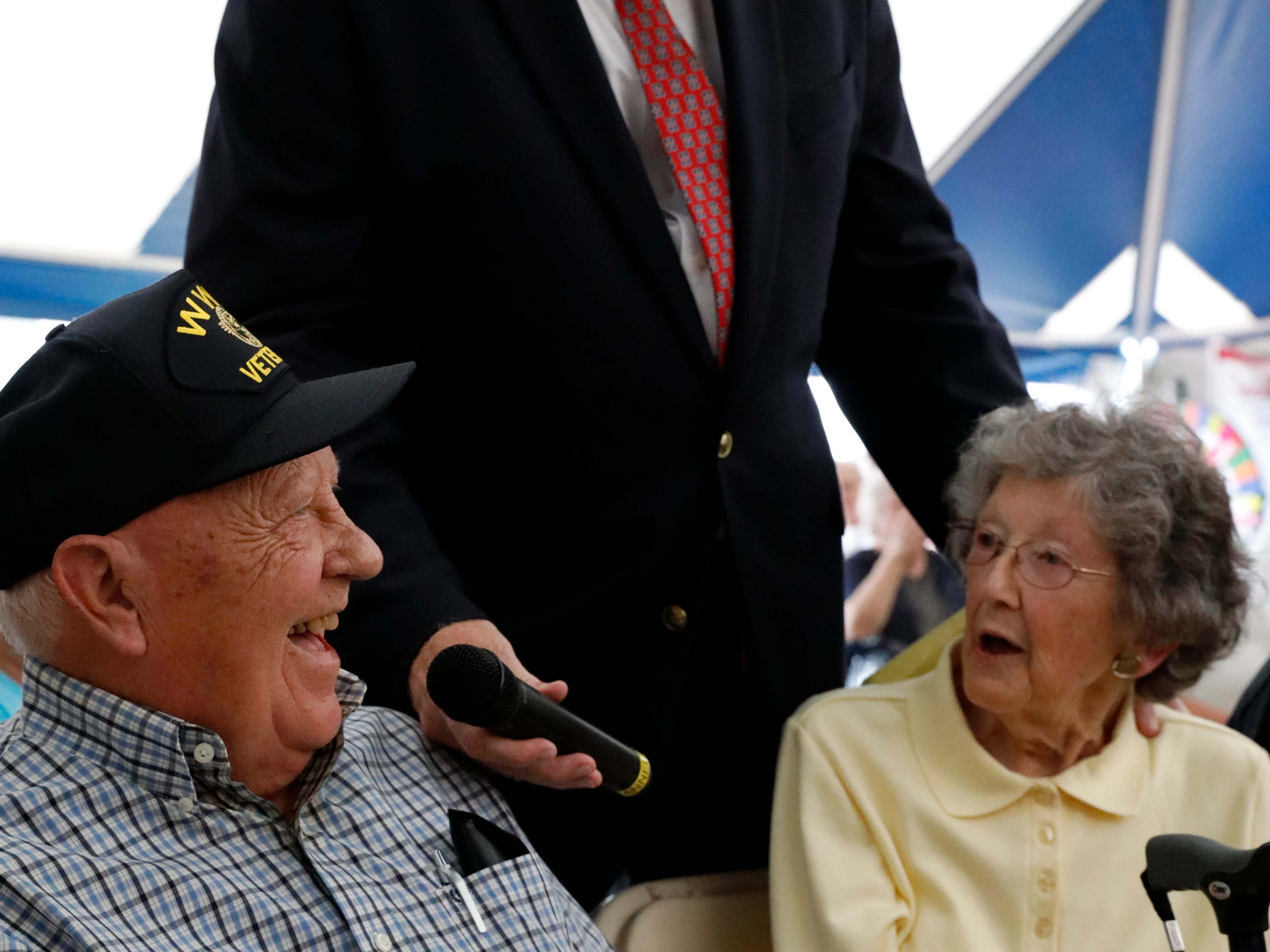 Paul Jassogne talks to Bob and Margaret Hayden, from Amanda, Wednesday afternoon, Oct. 10, 2018, at the Fairfield County Fair in Lancaster. The Haydens were at the live radio broadcast for couples who have married 50 years or longer. Married for 73 years the length of the Hayden's marriage beat out the 46 other couples for the longest marriage.