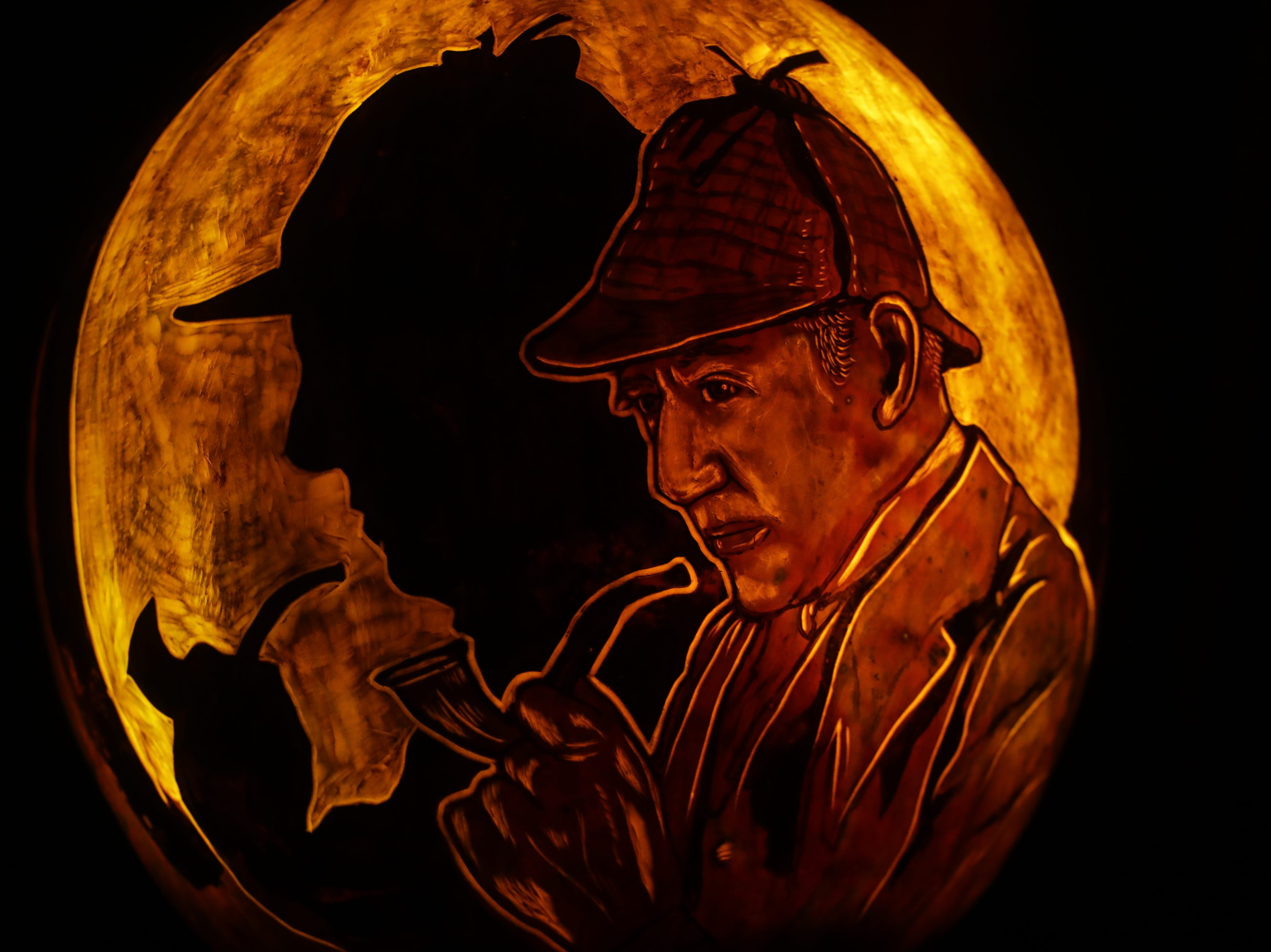 Sherlock Holmes appears on a pumpkin at this year's Jack O' Lantern Spectacular. Oct. 9, 2018