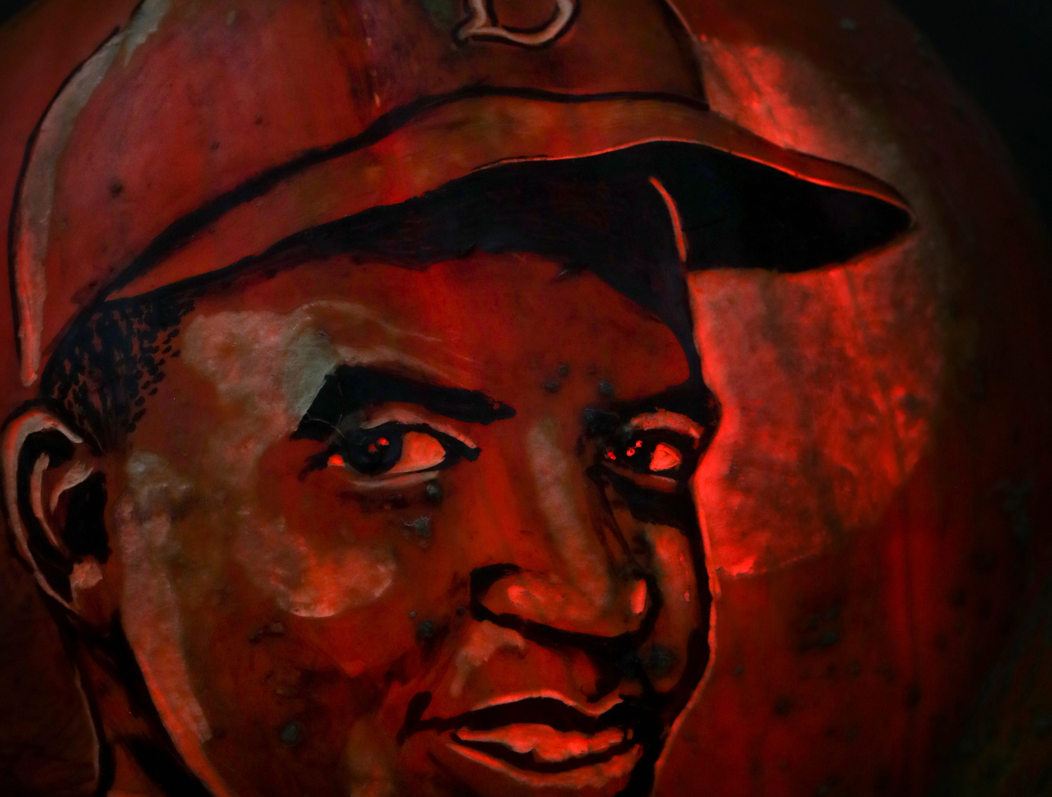 Jackie Robinson appears on a pumpkin at this year's Jack O' Lantern Spectacular. Oct. 9, 2018