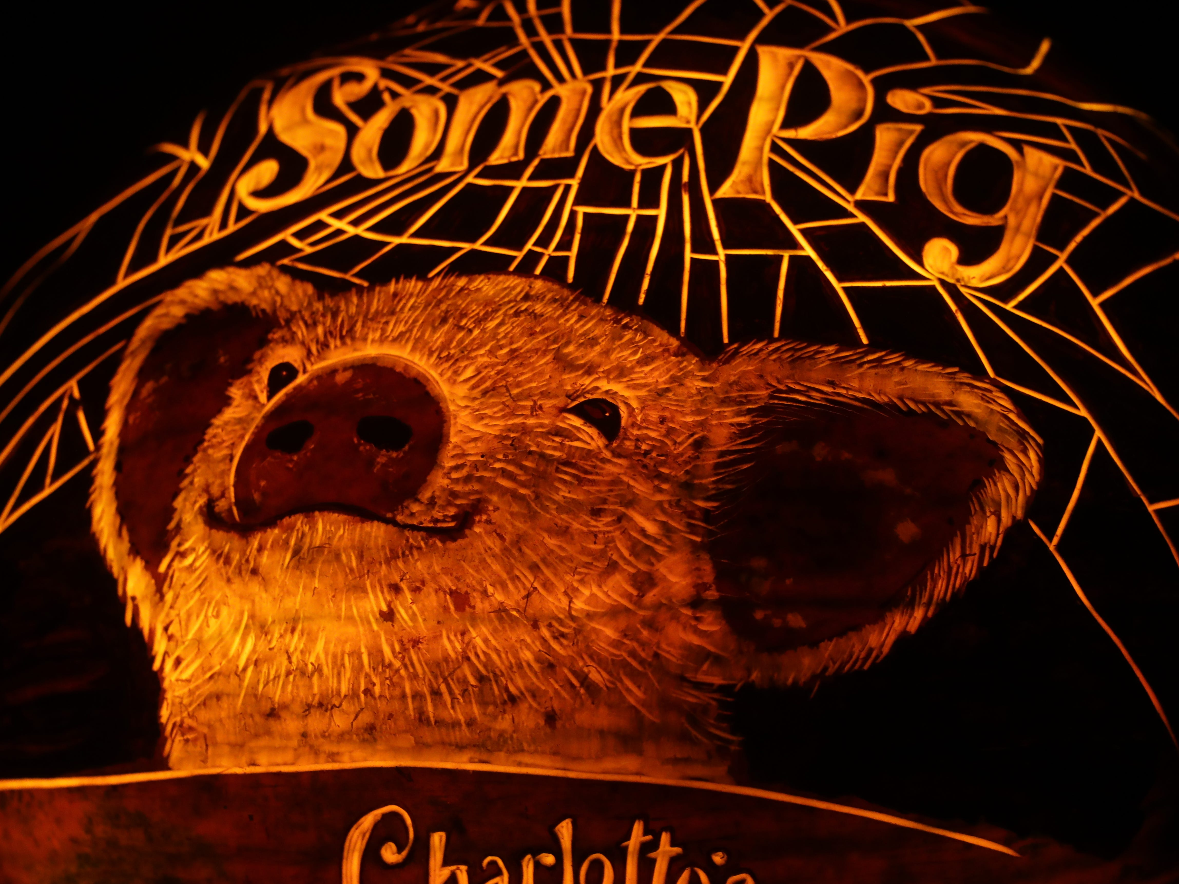 Charlotte's Web appears on a pumpkin at this year's Jack O' Lantern Spectacular. Oct. 9, 2018