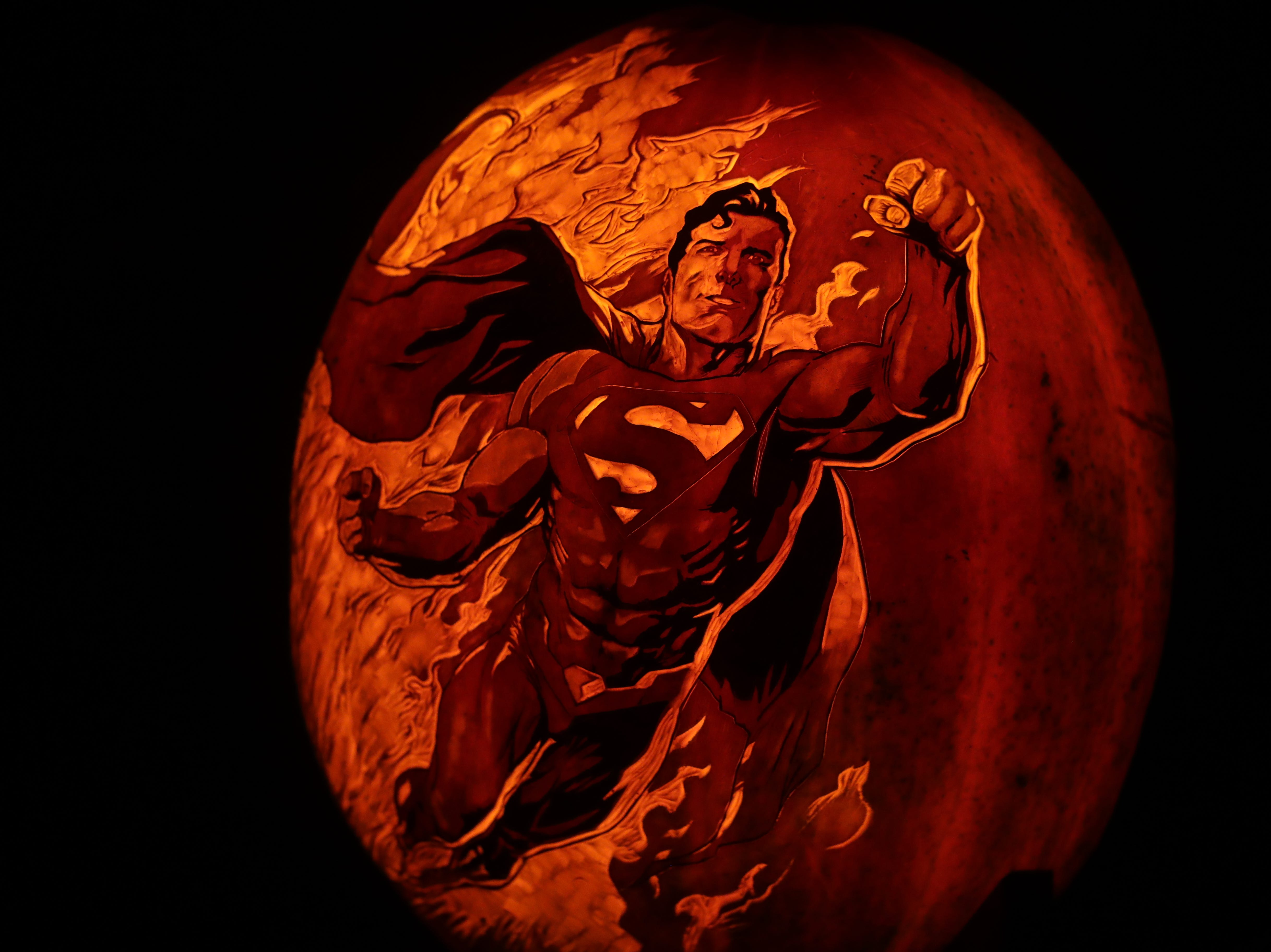 Superman appears on a pumpkin at this year's Jack O' Lantern Spectacular. Oct. 9, 2018
