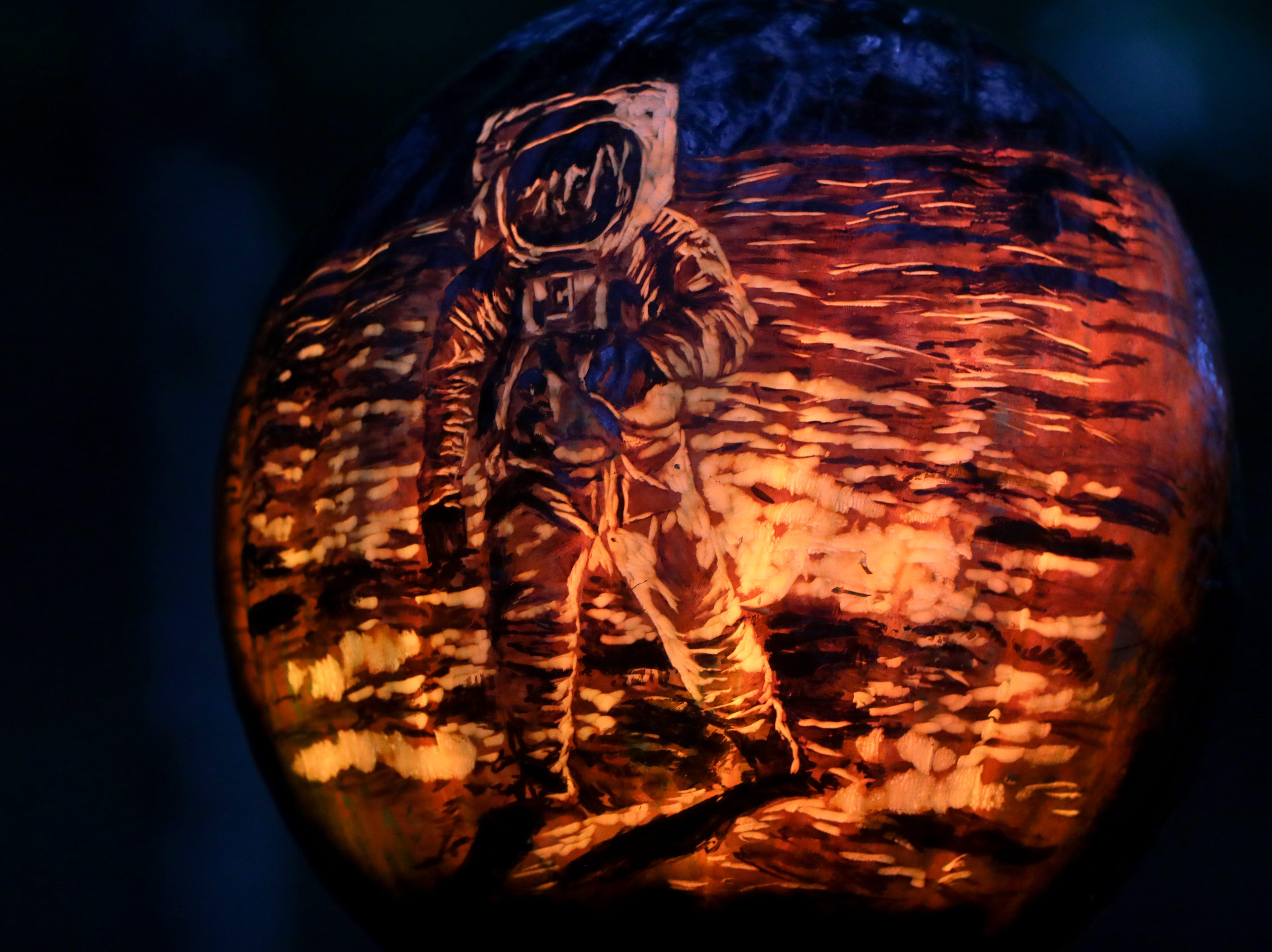 Neil Armstrong appears on a pumpkin at this year's Jack O' Lantern Spectacular. Oct. 9, 2018
