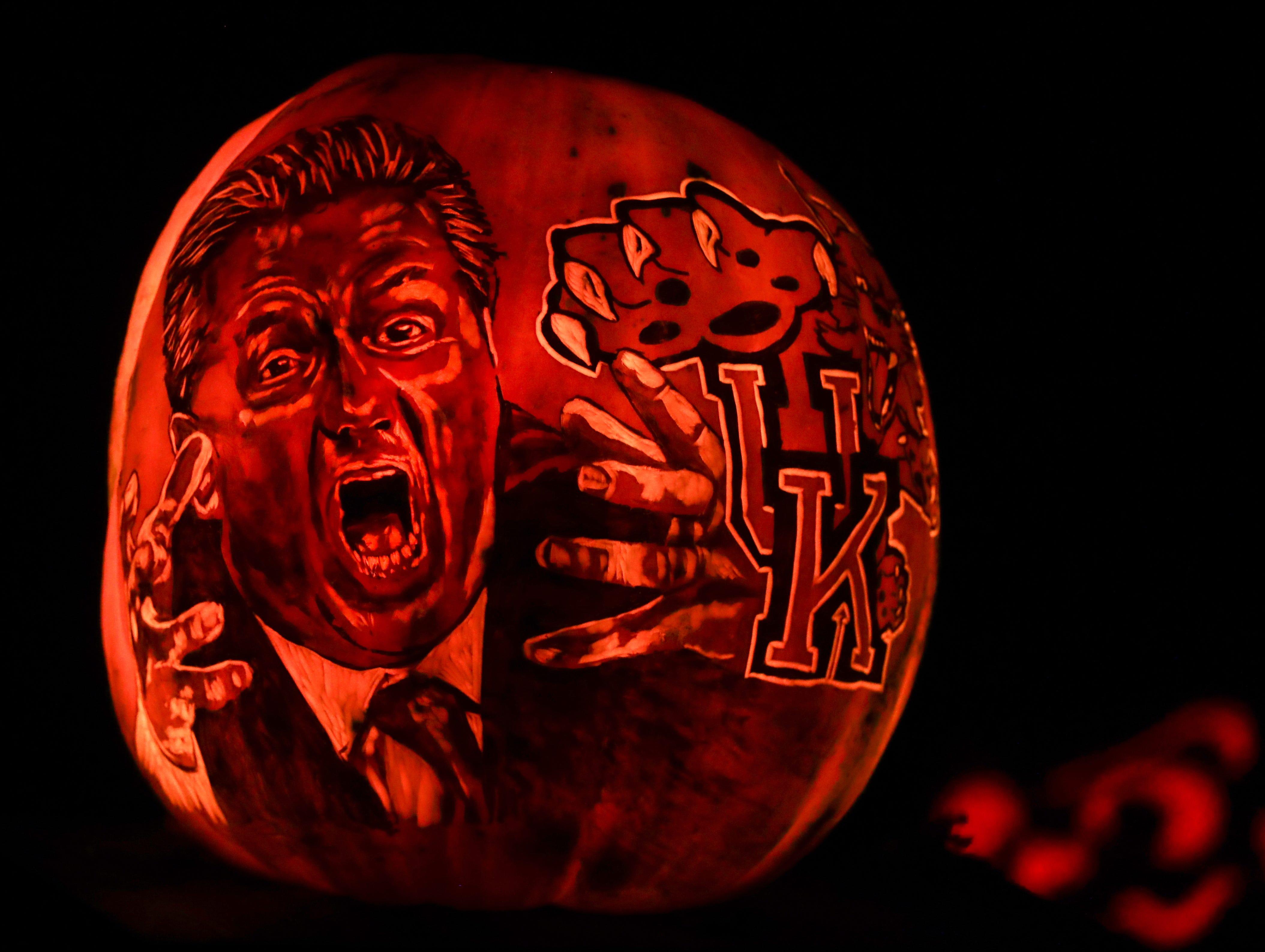 Kentucky's coach John Calipari appears on a pumpkin at this year's Jack O' Lantern Spectacular. Oct. 9, 2018