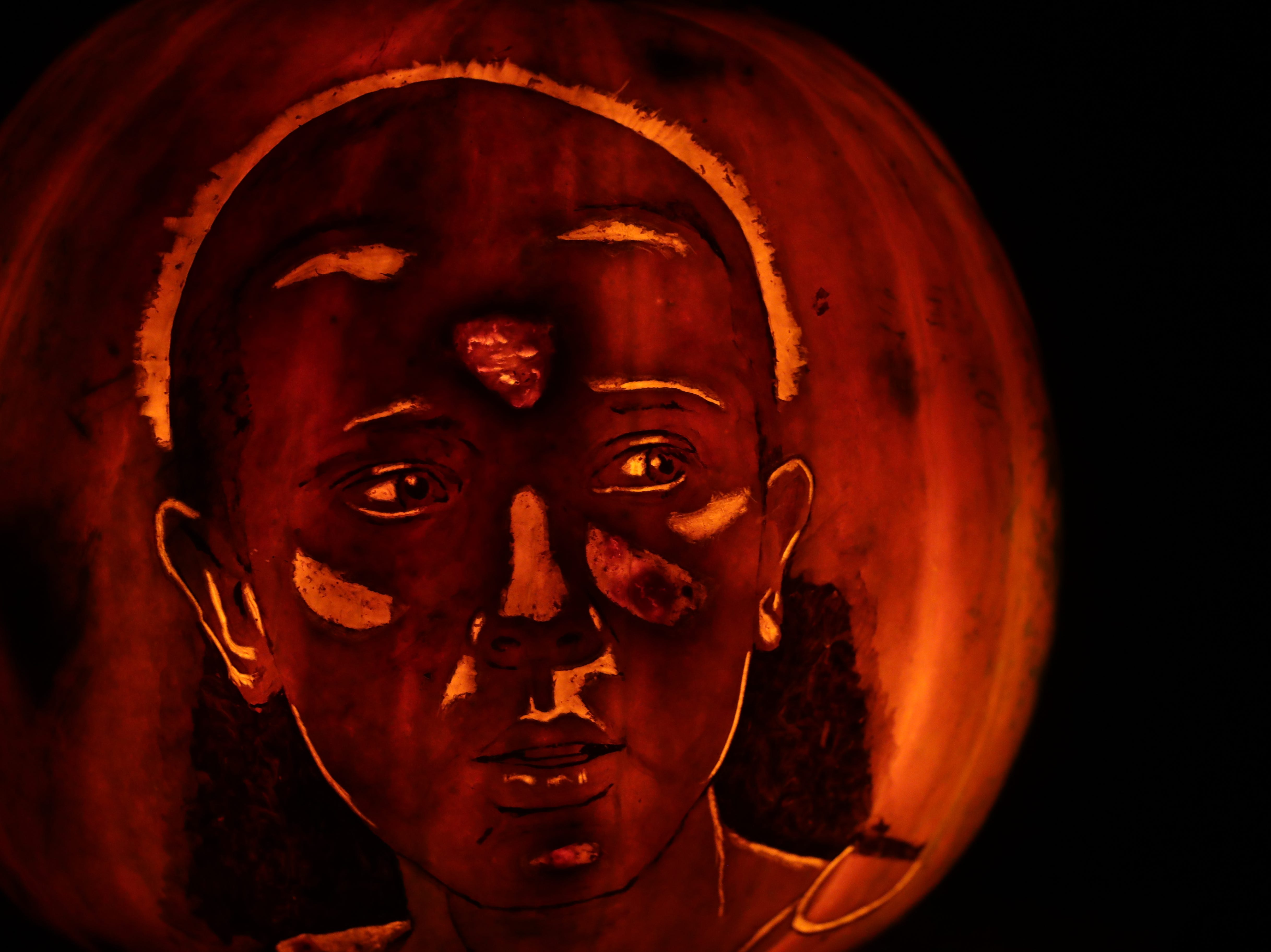 A tribute to Stranger Things appears on a pumpkin at this year's Jack O' Lantern Spectacular. Oct. 9, 2018