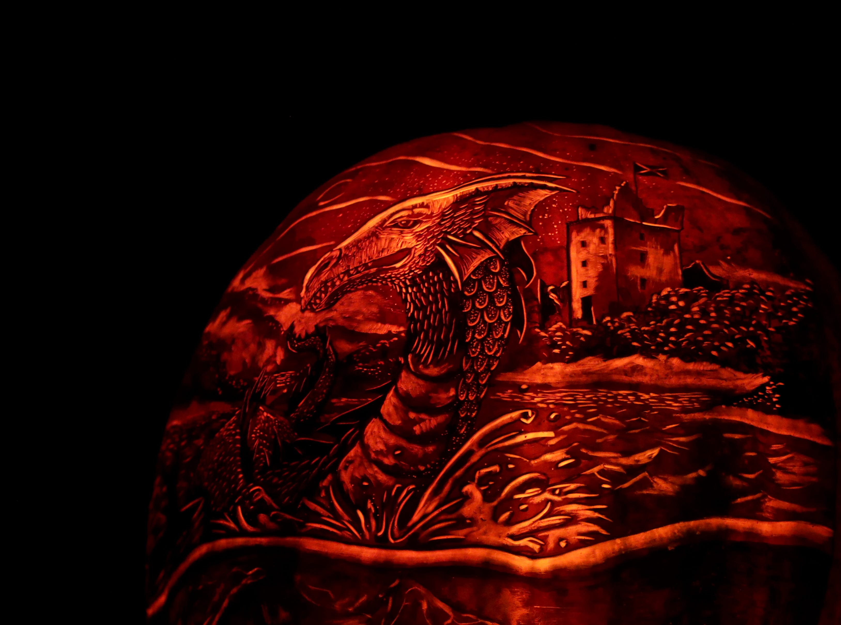 The Loch Ness Monster appears on a pumpkin at this year's Jack O' Lantern Spectacular. Oct. 9, 2018