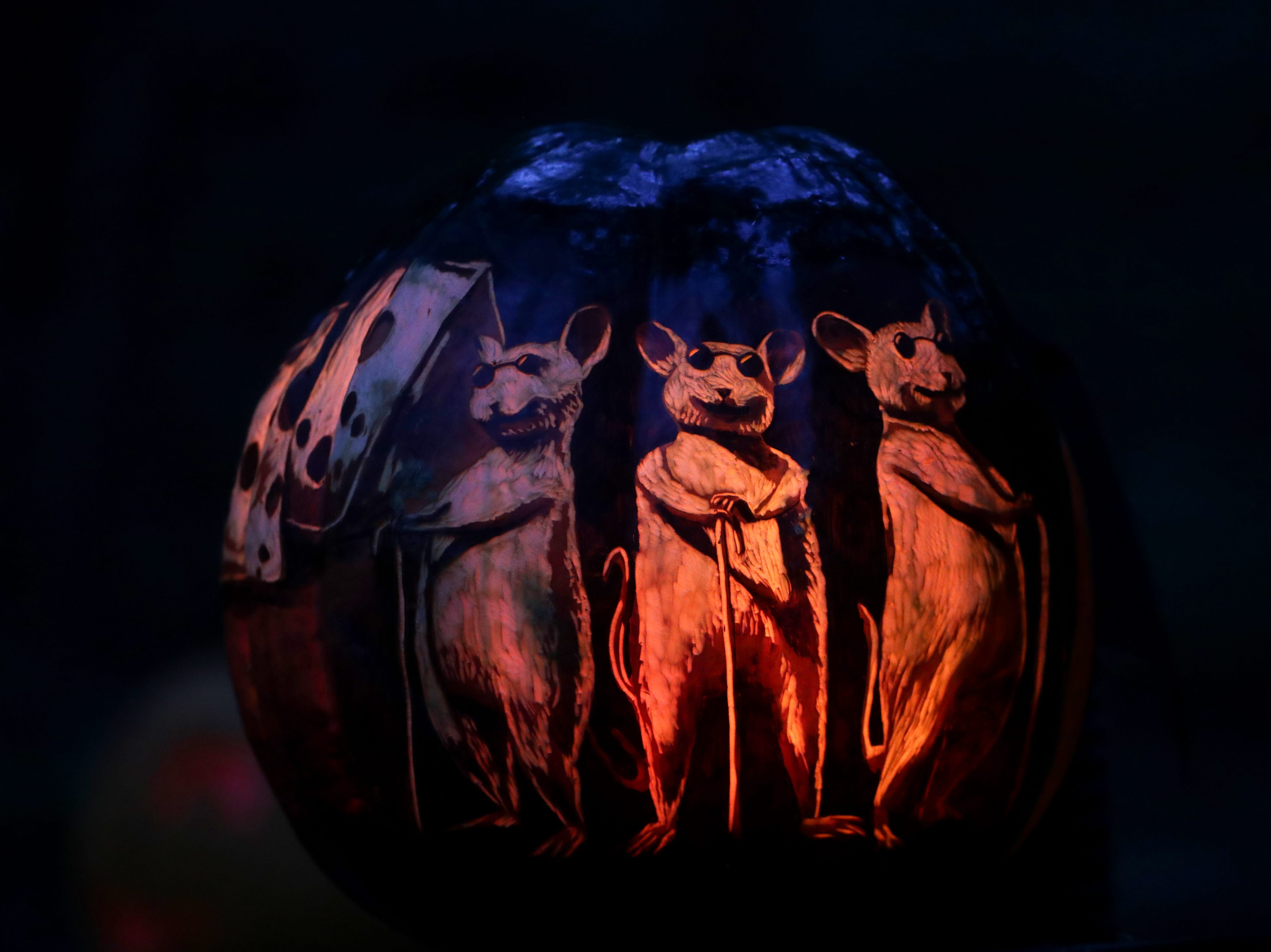 The three blind mice appear on a pumpkin at this year's Jack O' Lantern Spectacular. Oct. 9, 2018