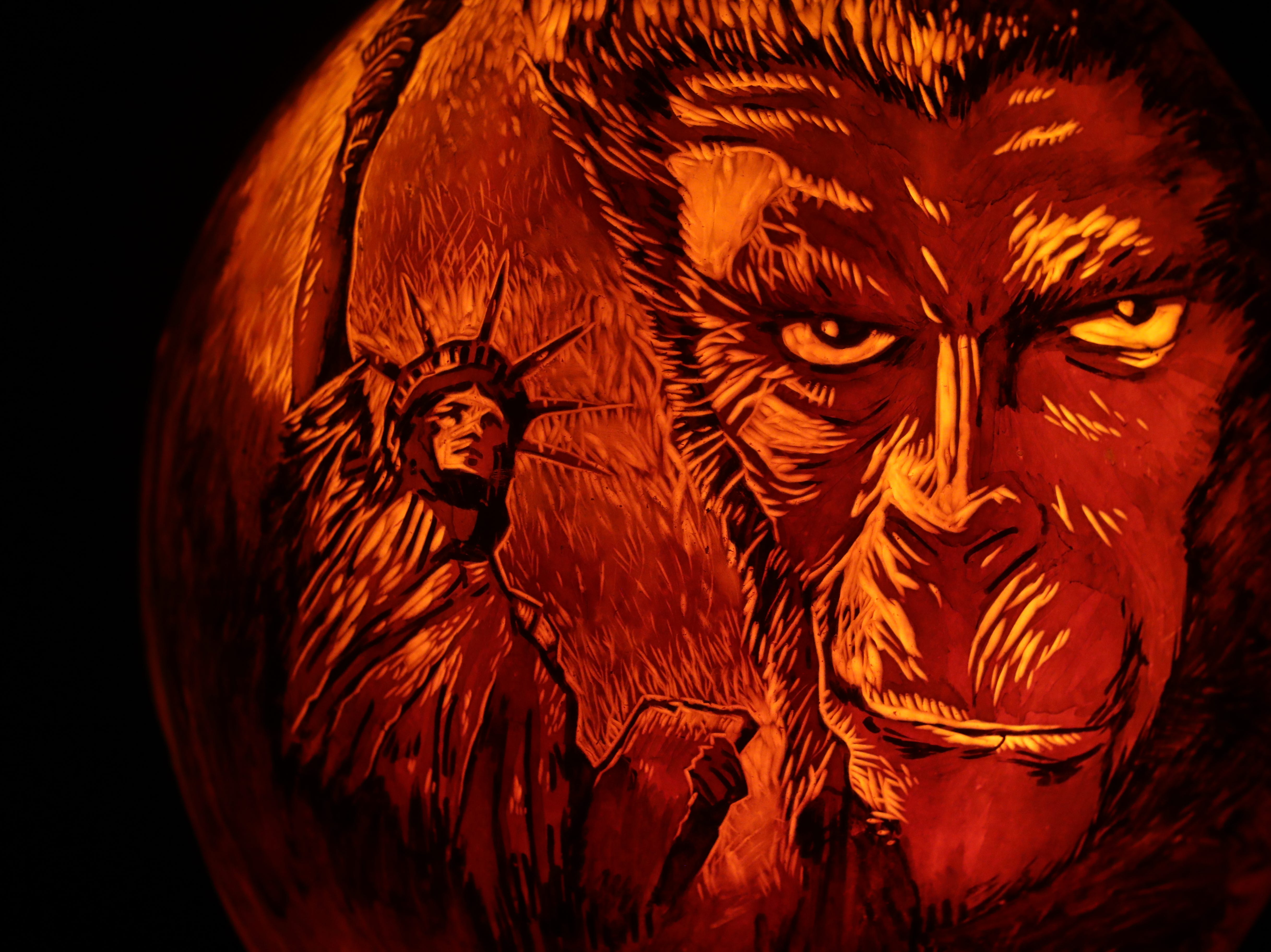 Planet of the Apes appears on a pumpkin at this year's Jack O' Lantern Spectacular. Oct. 9, 2018